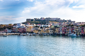 Procida, Naples, Campania, Italy: the pastel colors of the Marina Corricella in the port of Procida, one of the Phlegraean Islands off the coast of Naples in southern Italy.