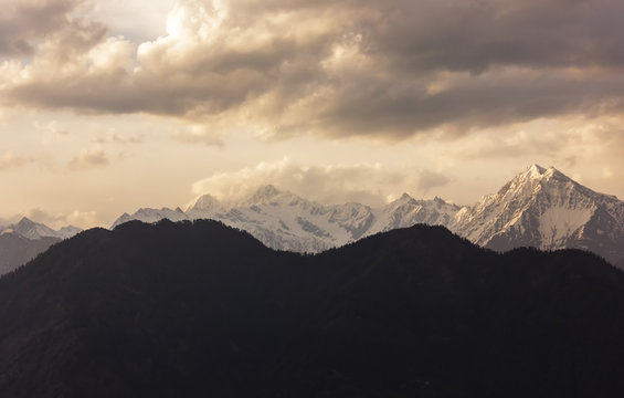 The Himalayan mountains of the Shrikhand Mahadev range seen from the village of Sarahan in Himachal Pradesh, India.