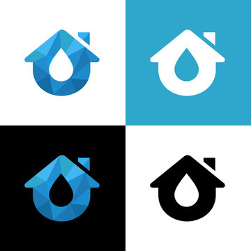 Water drop and house logo design template elements, aqua home symbol - Vector