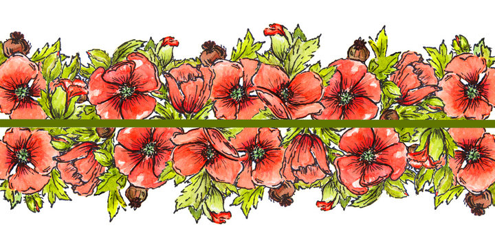 watercolor red poppies border green leaves
