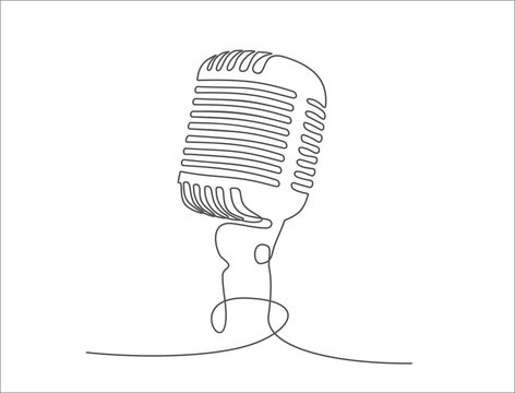 Continuous one single line drawing Retro microphone logo icon vector illustration concept