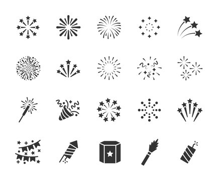 Vector set of firework flat icons. Contains icons of firecracker, sparkler, salute, petard, firework box and more. Pixel perfect, scalable 24, 48, 96 pixels.