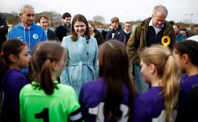 Britain's Liberal Democrats leader Jo Swinson visits Shinfield tennis club in Reading