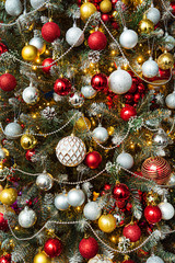 Christmas tree with red and golden balls
