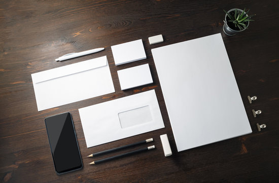 Blank branding stationery set on wood table background. Template for placing your design. Branding mock up.