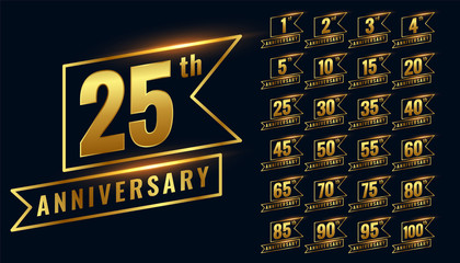 golden happy anniversary premium labels logotype set