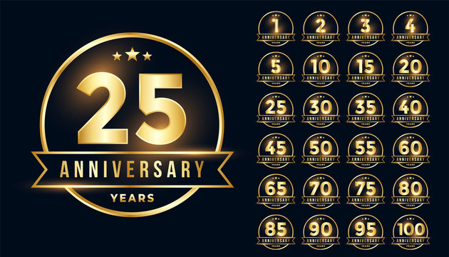 premium golden anniversary emblem set in line style
