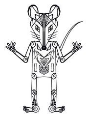 Fantasy character little mouse robot 2020 on a white background. Symbol of 2020. Outline drawing Boy mouse (rat) One Element, Seamless pattern for printing on fabric, wrapping paper, postcard, wallpap