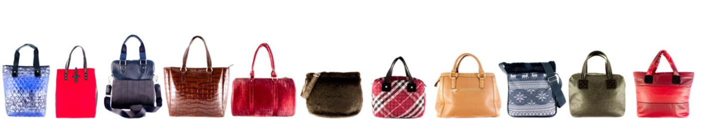 Women's handbags different on a white background. Header.