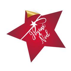 Joyeux Noel, Stern, dekorativer Button/Aufkleber mit Handschrift und Schleife