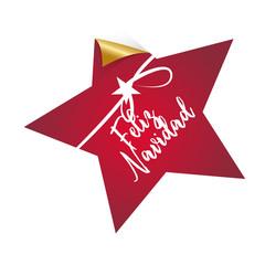 Feliz Navidad, Stern, dekorativer Button/Aufkleber mit Handschrift und Schleife