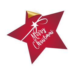 Merry Christmas, Stern, dekorativer Button/Aufkleber mit Handschrift und Schleife