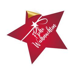 Frohe Weihnachten, Stern, dekorativer Button/Aufkleber mit Handschrift und Schleife