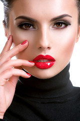 Fototapete - Beautiful young woman with red lipstick.