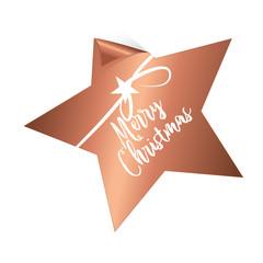 Merry Christmas - sternförmiger Aufkleber, Button kupfer mit Schleife