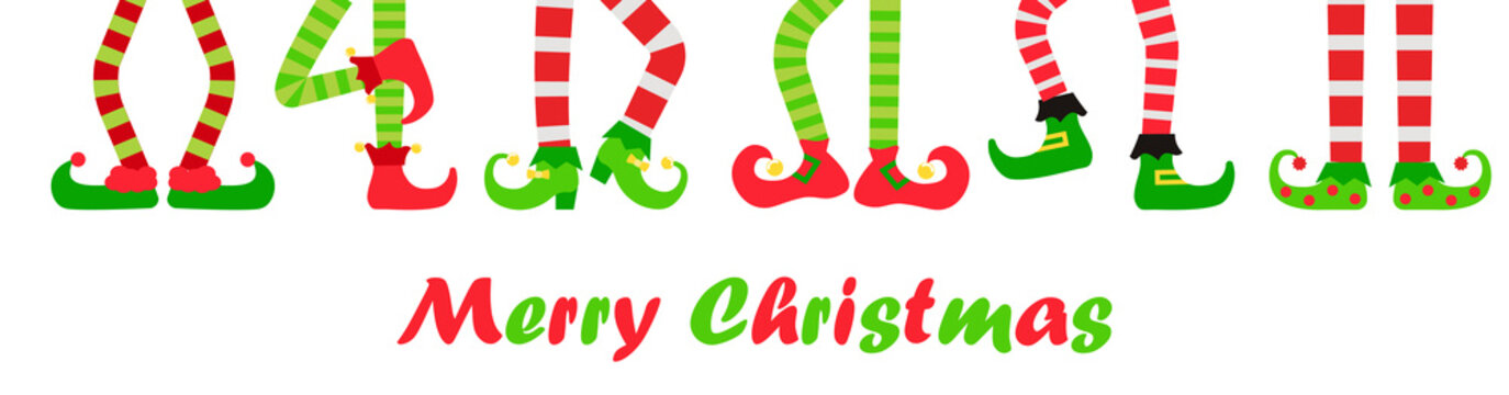 Merry Christmas background or banner with elf feet set, vector illustration. Collection of cute elves legs, boots. Santa helpers shoes and pants. Isolated on white background