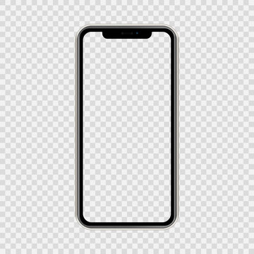 realistic smartphone The shape of a modern mobile phone Designed 2019 to have a thin edge. mockup empty screen, isolated on transparent background. vector illustration.