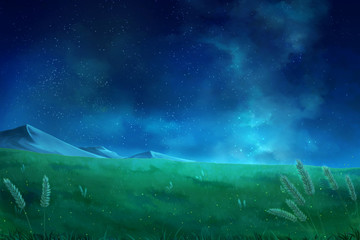 Foto op Canvas Nachtblauw Night sky clouds - Anime Background.