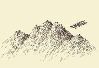 Foto auf Acrylglas Beige A flight over the mountains. Plane flying over alpine landscape