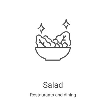 salad icon vector from restaurants and dining collection. Thin line salad outline icon vector illustration. Linear symbol for use on web and mobile apps, logo, print media