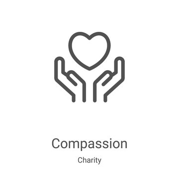compassion icon vector from charity collection. Thin line compassion outline icon vector illustration. Linear symbol for use on web and mobile apps, logo, print media