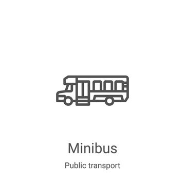 minibus icon vector from public transport collection. Thin line minibus outline icon vector illustration. Linear symbol for use on web and mobile apps, logo, print media