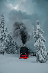 Papiers peints Voies ferrées Famous steam train throught the winter mountain landscape with contrast moody day. Brocken, Harz National Park Mountains in Germany