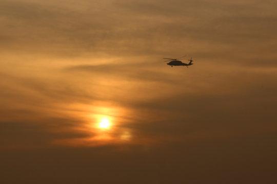 sikorsky s-70 in flight (helicopter in flight)