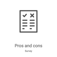 pros and cons icon vector from survey collection. Thin line pros and cons outline icon vector illustration. Linear symbol for use on web and mobile apps, logo, print media