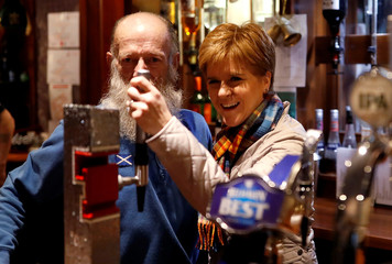 Scotland's First Minister Nicola Sturgeon campaigns in Kemnay