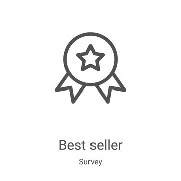 best seller icon vector from survey collection. Thin line best seller outline icon vector illustration. Linear symbol for use on web and mobile apps, logo, print media