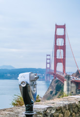 Fototapete - Viewing Scope over Bay with Golden Gate Bridge in Background