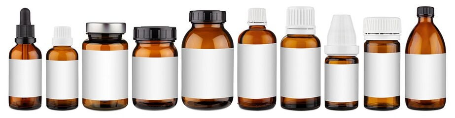 Set collection row of various brown medicine pill glass pipette dropper bottle with blank copyspace label design pattern without isolated white panorama background