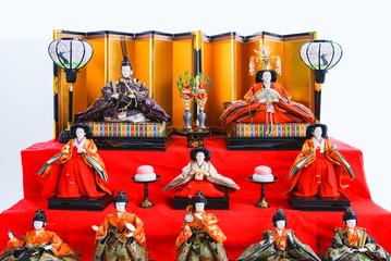 Fototapeten Rot landscape of japanese traditional doll for praying girl's growth in Japan