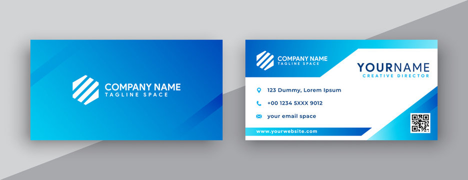modern business card design . double sided business card design template . blue gradation business card inspiration
