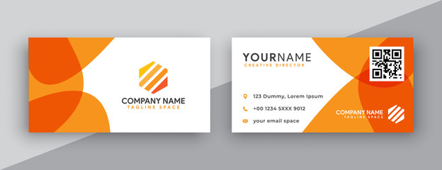 modern business card design . double sided business card design template . flat orange business card inspiration