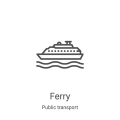 ferry icon vector from public transport collection. Thin line ferry outline icon vector illustration. Linear symbol for use on web and mobile apps, logo, print media