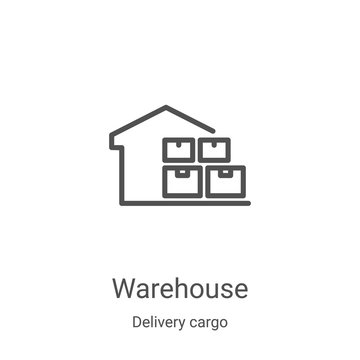 warehouse icon vector from delivery cargo collection. Thin line warehouse outline icon vector illustration. Linear symbol for use on web and mobile apps, logo, print media
