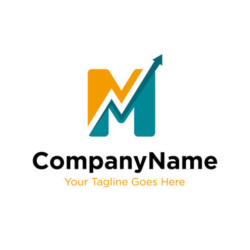 letter M trade marketing logo design vector. initial M and chart diagram graphic concept. company, corporate, business, finance symbol icon