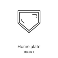 home plate icon vector from baseball collection. Thin line home plate outline icon vector illustration. Linear symbol for use on web and mobile apps, logo, print media