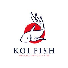 japanese koi fish logo with line art, monoline, outline concept design vector template illustration. aquarium, business symbol icon