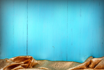 wooden blue texture with gold textil