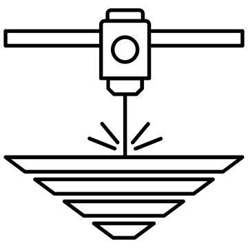 Electron-beam additive manufacturing vector icon design