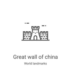 great wall of china icon vector from world landmarks collection. Thin line great wall of china outline icon vector illustration. Linear symbol for use on web and mobile apps, logo, print media