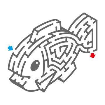 魚のアイソメトリック迷路(塗り絵)