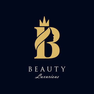 initial B luxury beauty queen woman face with crown logo design vector inspiration. consisting of a entwined B with lady face on negative space with crown.
