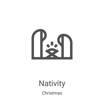nativity icon vector from christmas collection. Thin line nativity outline icon vector illustration. Linear symbol for use on web and mobile apps, logo, print media