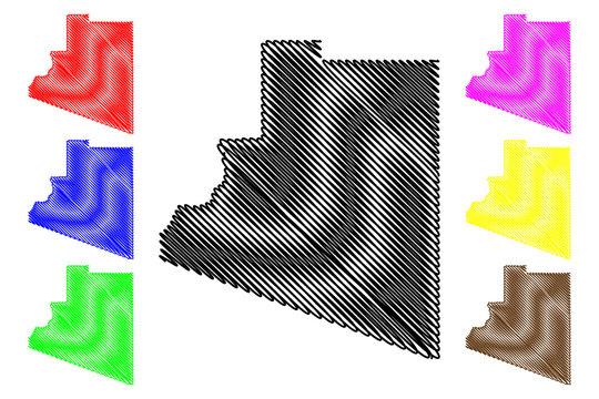 Yuma County, Arizona (U.S. county, United States of America,USA, U.S., US) map vector illustration, scribble sketch Yuma map