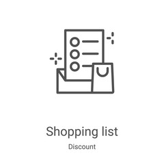 shopping list icon vector from discount collection. Thin line shopping list outline icon vector illustration. Linear symbol for use on web and mobile apps, logo, print media