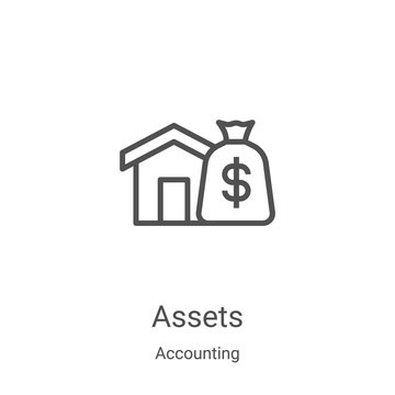 assets icon vector from accounting collection. Thin line assets outline icon vector illustration. Linear symbol for use on web and mobile apps, logo, print media